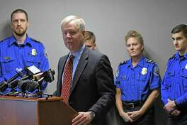 """Transportation Security Administration's Federal Security Director for upstate New York Bart Johnson speaks during a TSA """"holiday travel"""" news conference at the Albany International Airport on Friday Nov. 18, 2016 in Colonie, N.Y.  (Michael P. Farrell/Times Union)"""