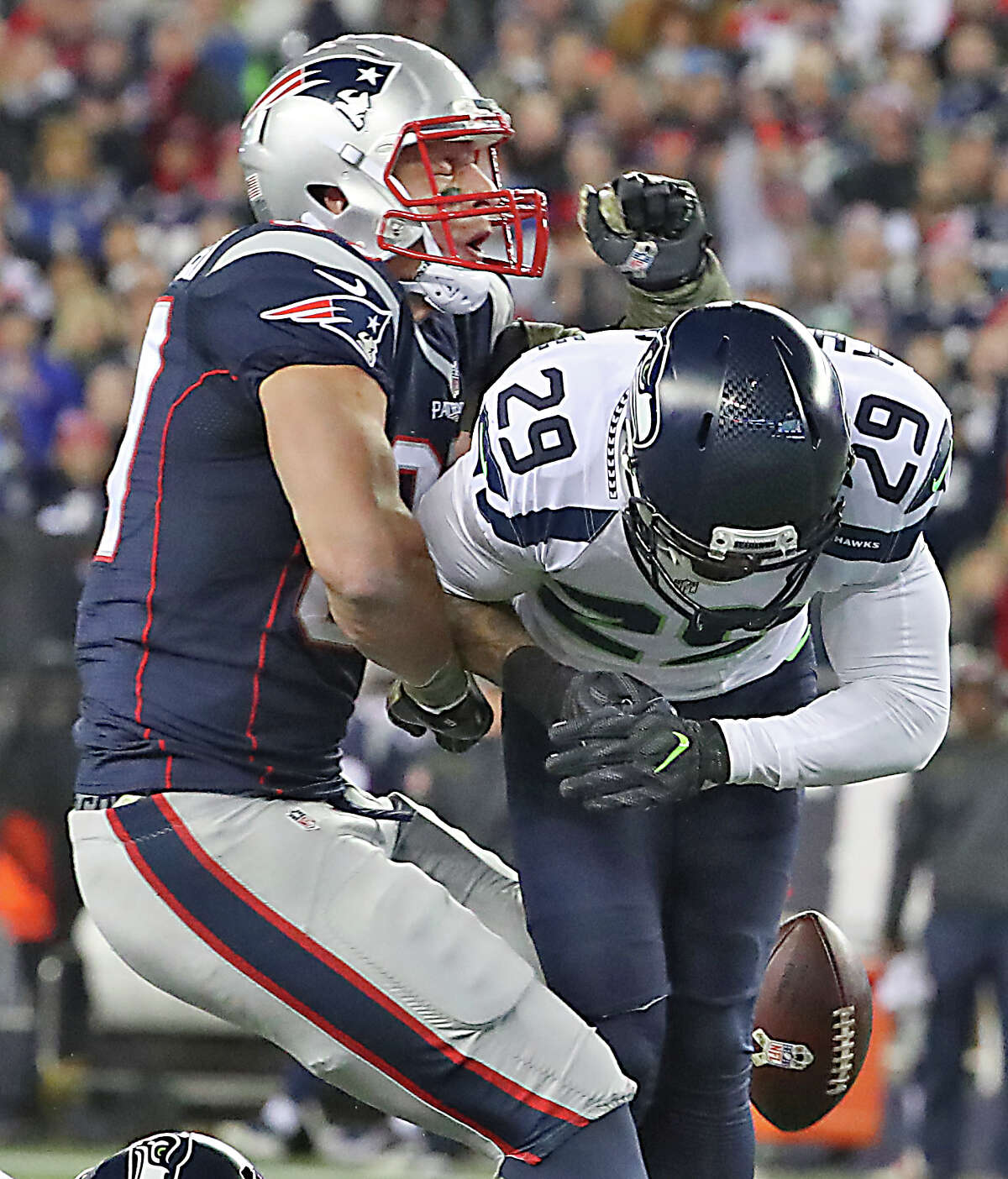 New England Patriots Rob Gronkowski is hit by Seattle Seahawks Earl Thomas III forcing an incomplete pass during second quarter. The New England Patriots host the Seattle Seahawks at Gillette Stadium in Foxborough, Mass., on Nov. 13, 2016. (Photo by Matthew J. Lee/The Boston Globe via Getty Images)