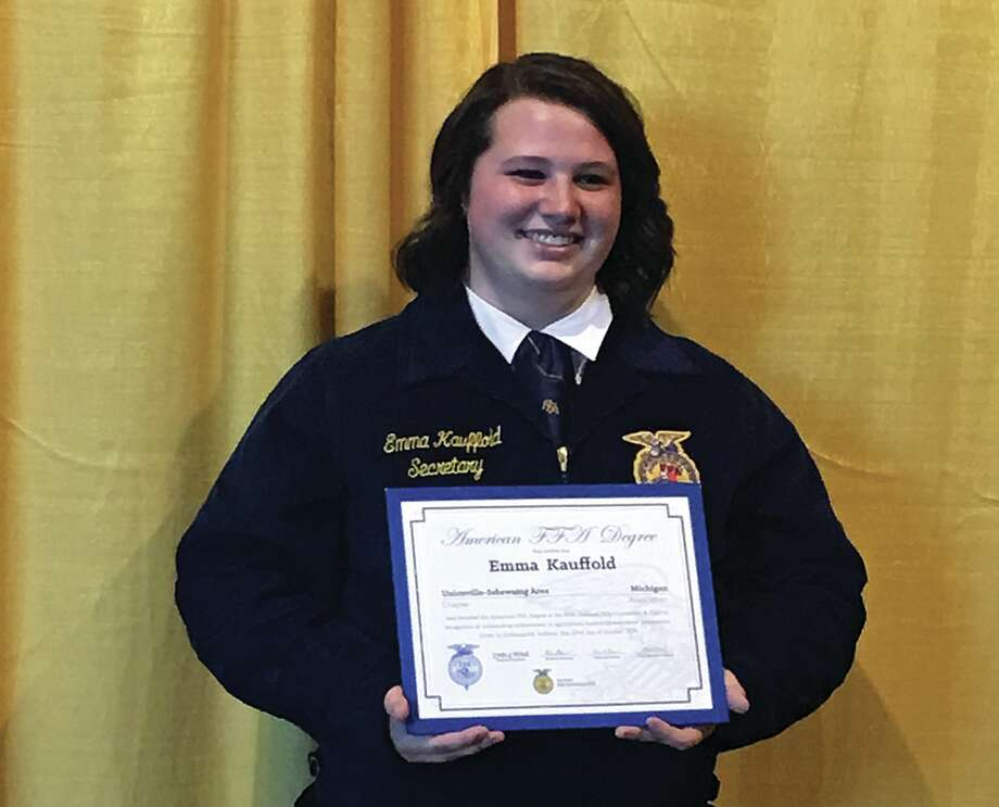 This year at the 89th convention in Indianapolis, Indiana USA FFA's member Emma Kauffold received the American FFA Degree. Throughout her time in FFA, Kauffold has had numerous achievements and has helped the USA chapter achieve many accomplishments. The USA FFA chapter is extremely proud of Kauffold's accomplishments in and out of FFA, and cannot thank her enough for all of the help she has generously given to the chapter. (Submitted Photo)