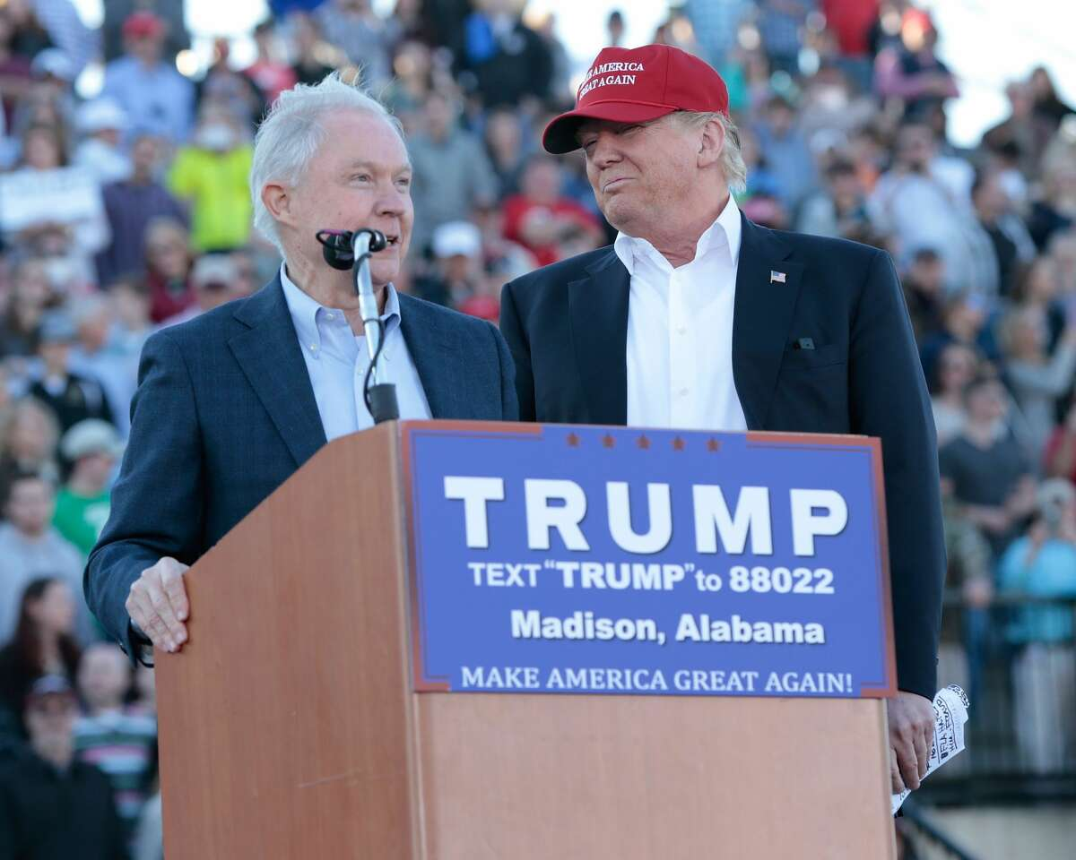United States Senator Jeff Sessions, R-Alabama, becomes the first Senator to endorse Donald Trump for President of the United States at Madison City Stadium on February 28, 2016 in Madison, Alabama.