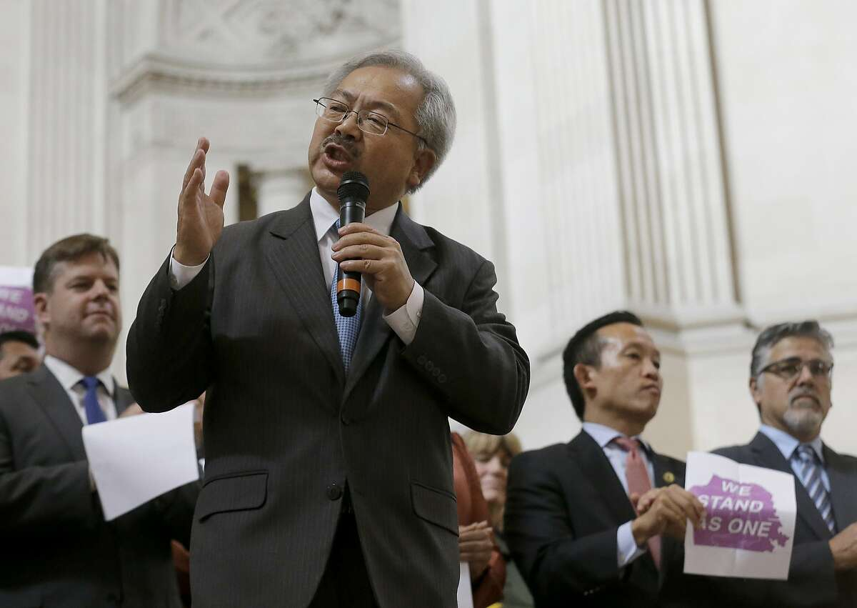 San Francisco Mayor Ed Lee speaks during a meeting at City Hall in San Francisco by city leaders and community activists to reaffirm the city's commitment to being a sanctuary city in response to Donald Trump's support of deportations and other measures against immigrants Monday, Nov. 14, 2016.