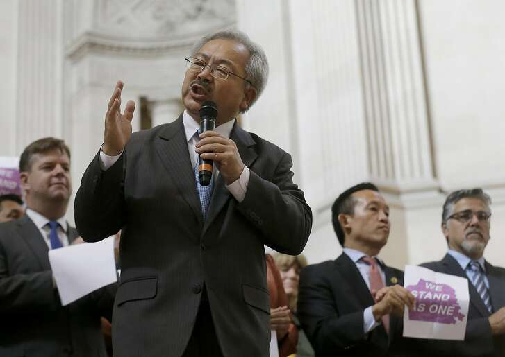 San Francisco Mayor Ed Lee speaks during a meeting at City Hall in San Francisco by city leaders and community activists to reaffirm the city's commitment to being a sanctuary city in response to Donald Trump's support of deportations and other measures against immigrants Monday, Nov. 14, 2016. (AP Photo/Jeff Chiu)