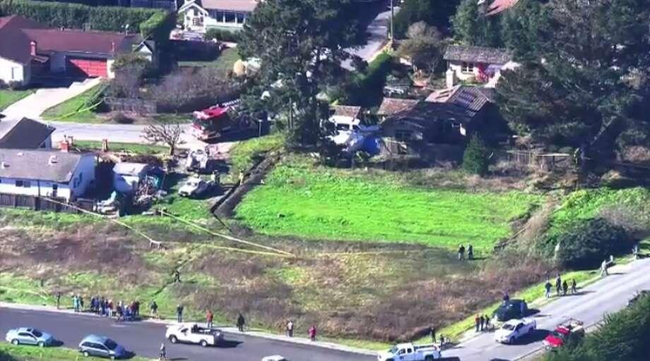 A plane crashed into a home Friday, Nov. 18, 2016 near Half Moon Bay Airport in Moss Beach, a San Mateo County Fire Department dispatcher said. Photo: Screen Grab, KTVU