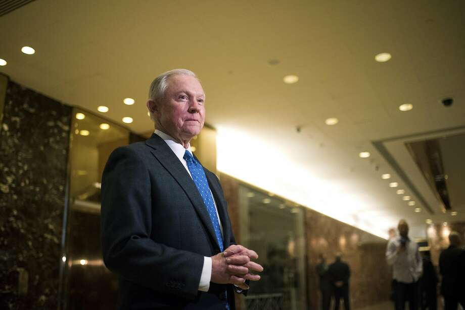 FILE-- Sen. Jeff Sessions (R-Ala.) speaks to reporters in the Trump Tower lobby on Fifth Avenue in Manhattan, Nov. 17, 2016. Trump selected Sessions, who has made cracking down on undocumented immigrants a signature issue, to be his attorney general, while installing Michael Flynn, a retired lieutenant general who believes Islamist militancy poses an existential threat, as his national security adviser. Photo: HILARY SWIFT, NYT