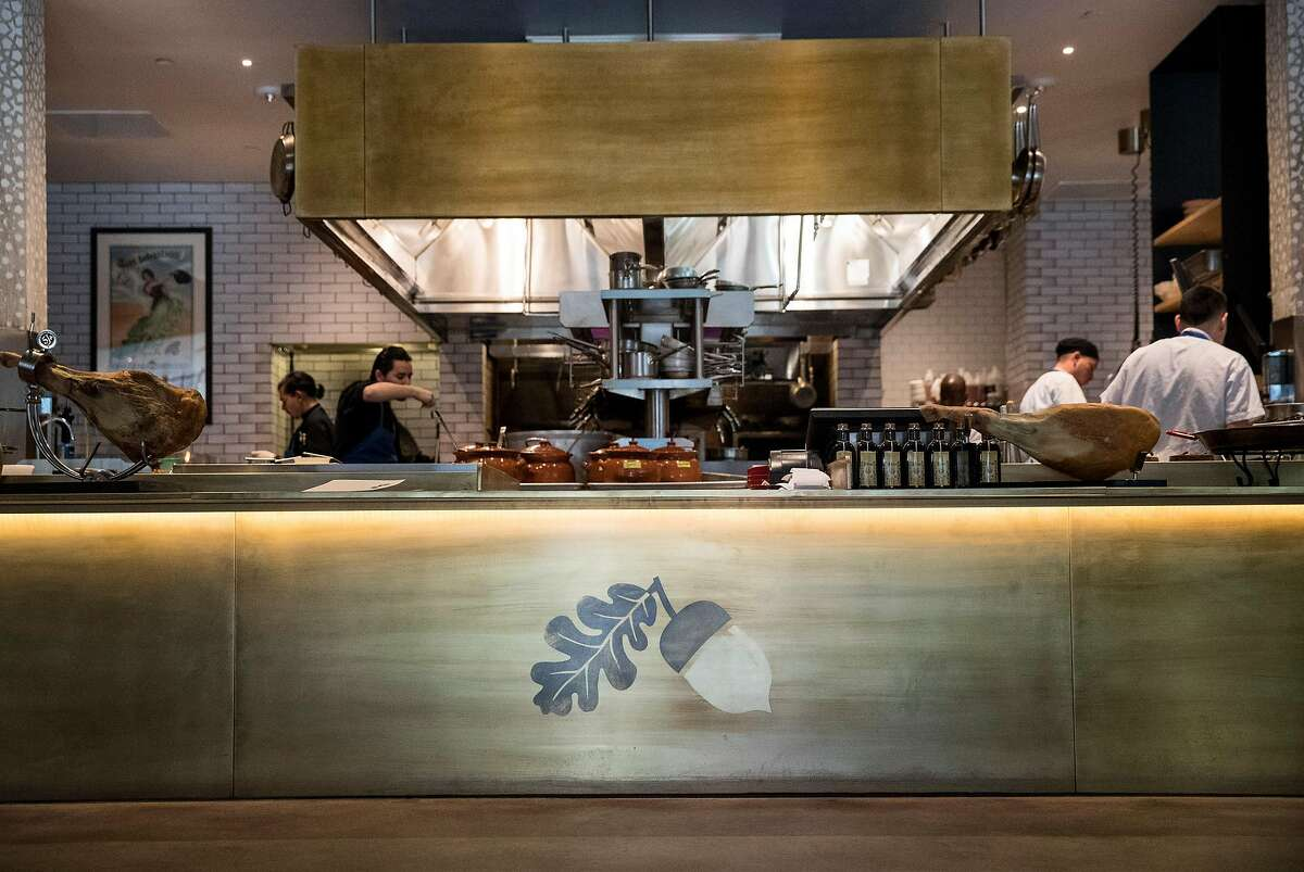The entrance to Bellota, a new Spanish cuisine restaurant in SoMa by the Absinthe Group, features an acorn detail in San Francisco, Calif., on Thursday, November 17, 2016. Interior designer Kendall Wilkinson worked on the restaurant's design.