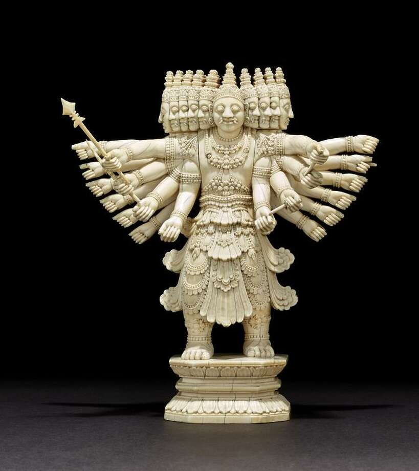 """The ivory """"Ravana"""" (c. 1800-75), depicts the 10-headed demon that abducted Rama's wife."""