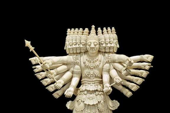 "The ivory ""Ravana"" (c. 1800-75), depicts the 10-headed demon that abducted Rama's wife."