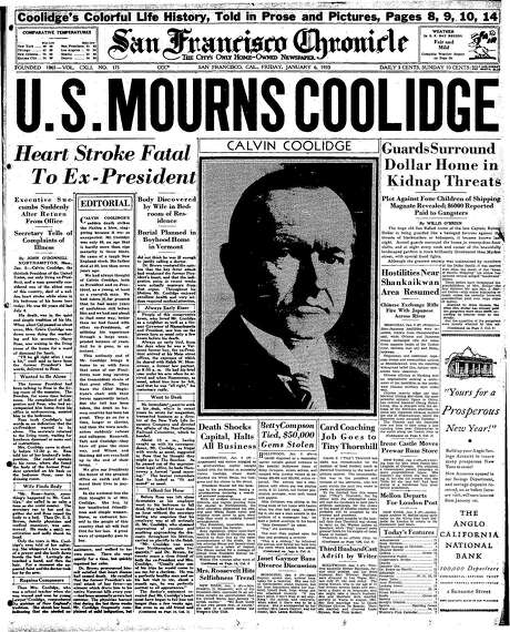 The Chronicle's front page from Jan. 6, 1933, covers the death of former President Calvin Coolidge. Photo: The Chronicle 1933