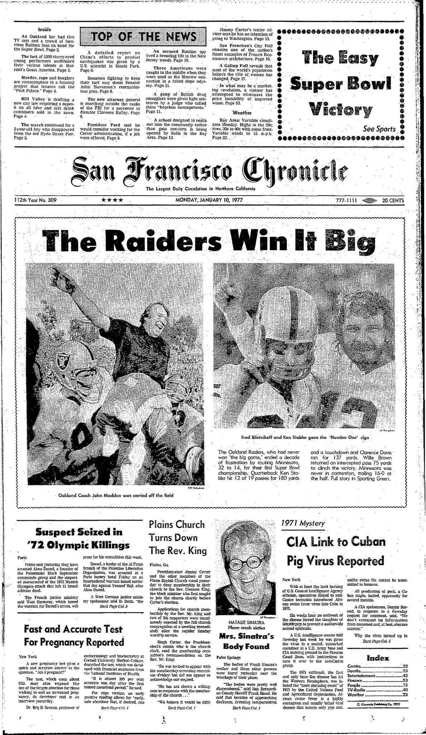 Chronicle Covers When The Raiders Won Their First Super