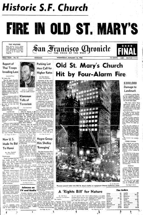 The Chronicle's front page from Jan. 12, 1966, covers the fire at Old St. Mary's Church. Photo: The Chronicle 1966