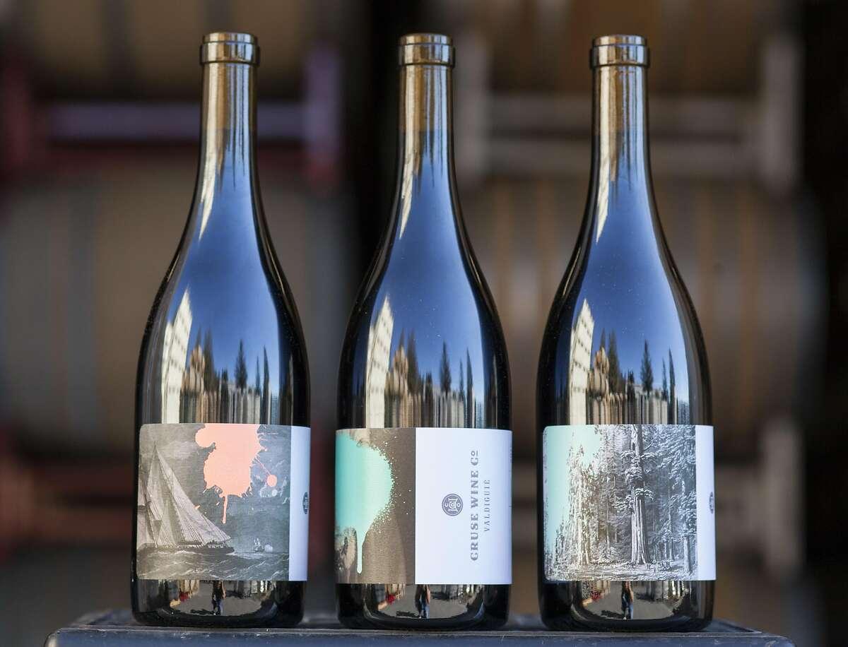 Bottles of Cruse Wine Co. Monkey Jacket, Valdiguie and Tannat in Petaluma, California, USA 17 Nov 2016. (Peter DaSilva/Special to The Chronicle)