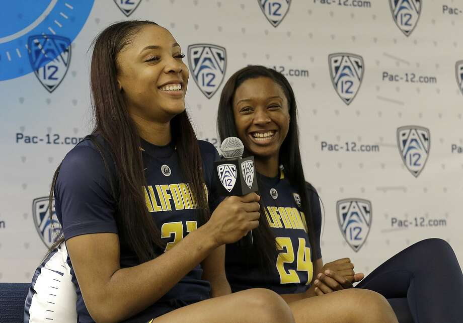 California's Kristine Anigwe, left, speaks next to Courtney Range during the Pac-12 NCAA college basketball media day in San Francisco, Thursday, Oct. 20, 2016. (AP Photo/Jeff Chiu) Photo: Jeff Chiu, Associated Press