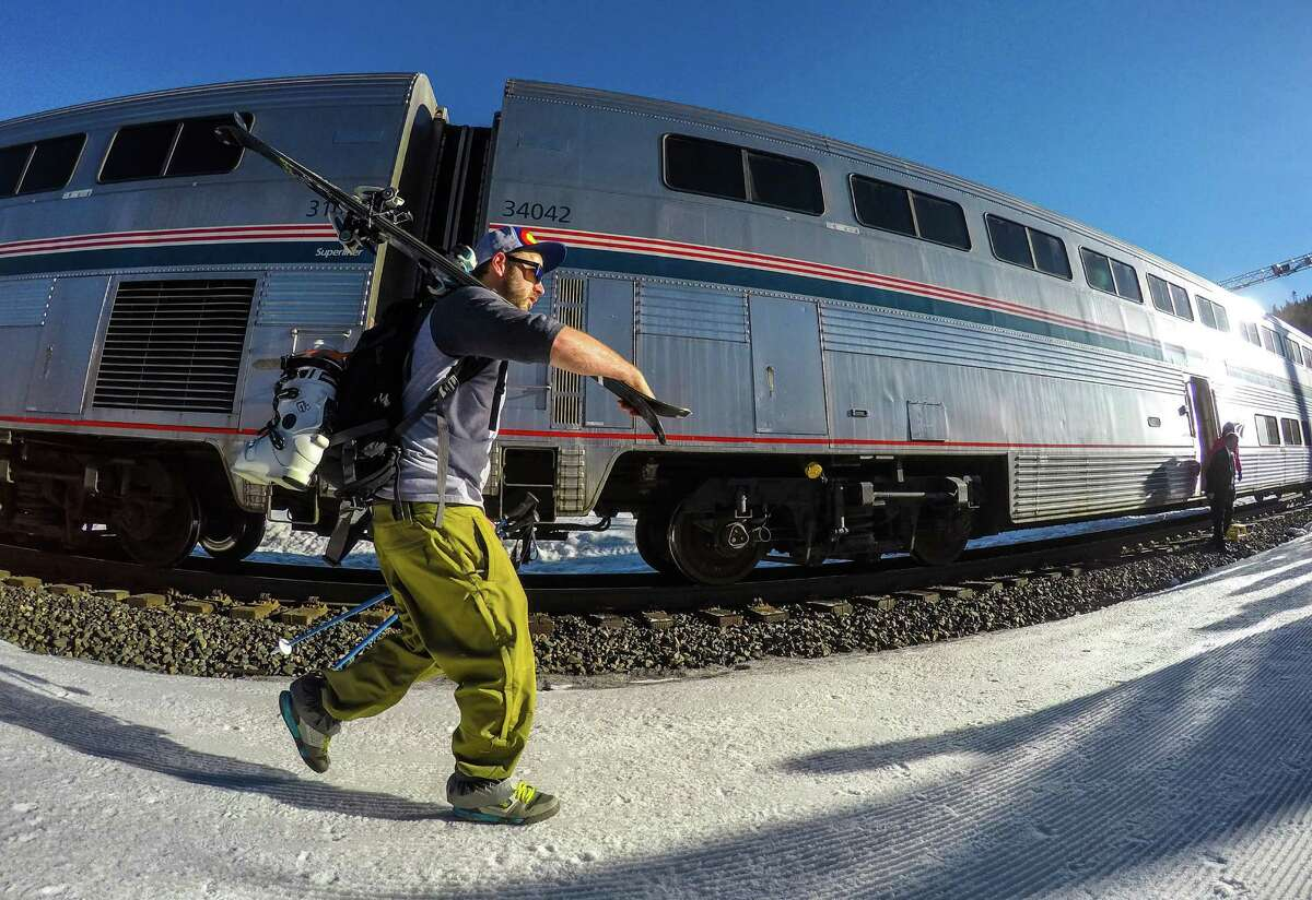 Top: The Winter Park Express will offer Saturday and Sunday service between Denver and Winter Park. Above: The double-decker train cars offer additional room for skiers with gear.