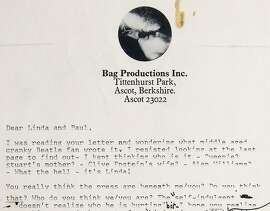 This image provided by RR Auction, of Boston, shows the top of the first page of a two-page typed draft with handwritten annotations from John Lennon to Paul and Linda McCartney, written shortly after the Beatles' breakup. The letter, thought to have been written in 1971, sold at auction Friday, Nov. 18, 2016, for nearly $30,000. (RR Auction via AP)