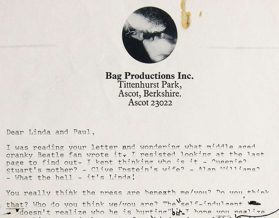 This image provided by RR Auction, of Boston, shows the top of the first page of a two-page typed draft with handwritten annotations from John Lennon to Paul and Linda McCartney, written shortly after the Beatles' breakup. The letter, thought to have been written in 1971, sold at auction Friday, Nov. 18, 2016, for nearly $30,000. (RR Auction via AP) Photo: Associated Press