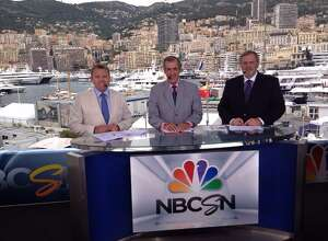 NBC's Formula One racing team announcers, Leigh Diffey, left, David Hobbs and Steve Matchett, will be at the Ridgefield Playhouse for an evening of conversation on Monday, Nov. 28. Monaco is seen in the background.