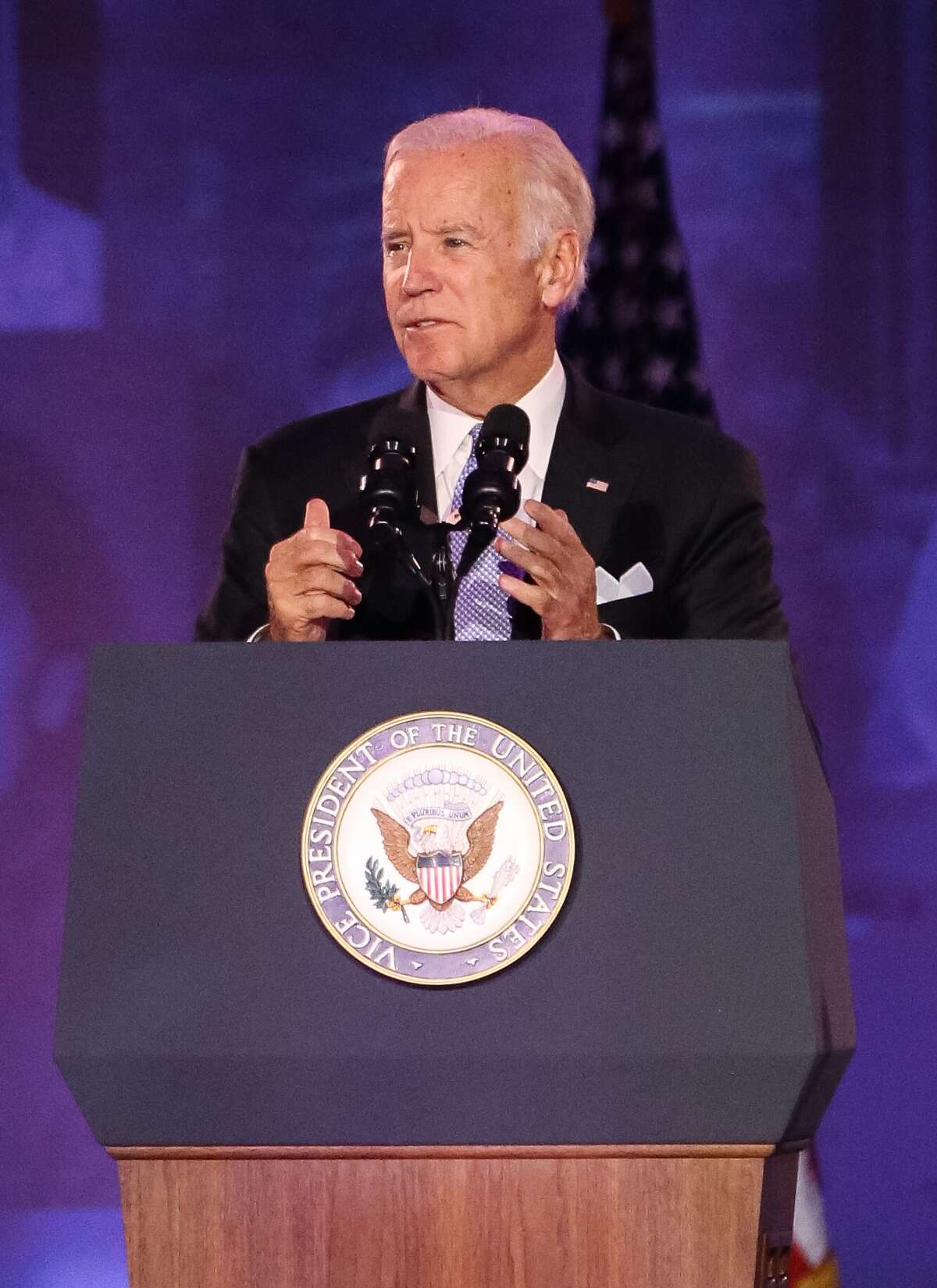 United States Vice President Joe Biden gives a speech at the 75th Anniversary Gala of University of Texas MD Anderson Cancer Center on Thursday, November 10, in Houston. Biden' son, Beau Biden, was treated at MD Anderson with brain cancer in 2013. (Yi-Chin/ Houston Chronicle)