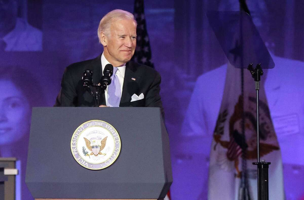 Vice President Joe Biden speaks at the 75th anniversary gala of University of Texas M.D. Anderson Cancer Center. Biden' late son, Beau, was treated at M.D. Anderson for brain cancer in 2013.