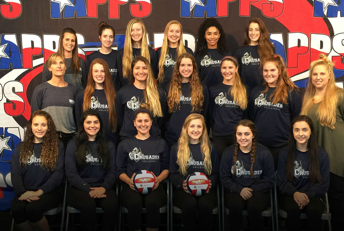 Concordia Lutheran Volleyball, helmed by head coach Kim Odinga (middle row, right), the 2016 TAPPS 6A State Champions. The Lady Crusaders had their eyes on Bishop Lynch, the four-time state title winners, since a tournament loss in early August, and knocked off the Lady Friars in five sets to win.