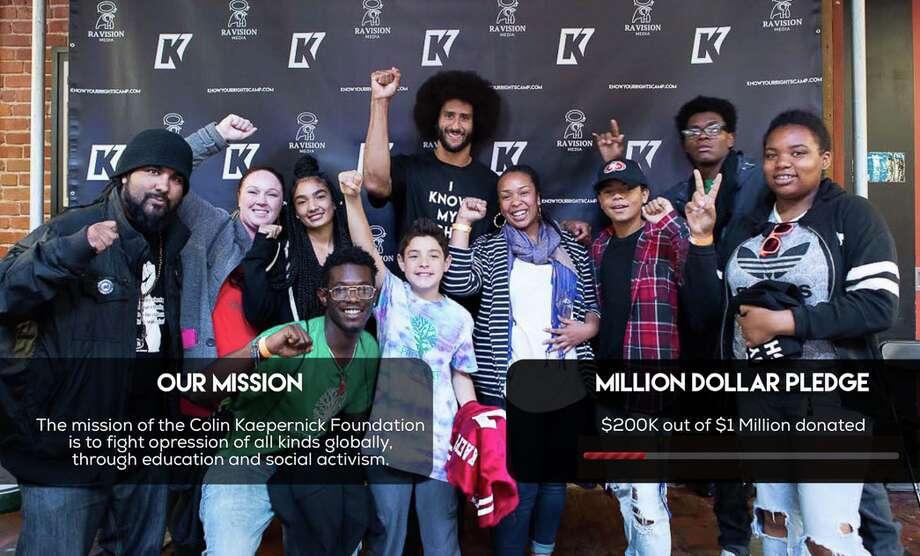 Colin Kaepernick rolled out his million-dollar giveaway Friday afternoon. On the website www.kaepernick7.com 49ers' quarterback detailed how the first $100,000 will be allotted. Photo: Kaepernick7.com