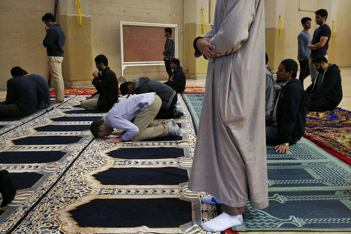 Students pray during a prayer session held by the Muslim Student Association (Cal MSA) on the UC Berkeley campus Nov. 18, 2016 in Berkeley, Calif.
