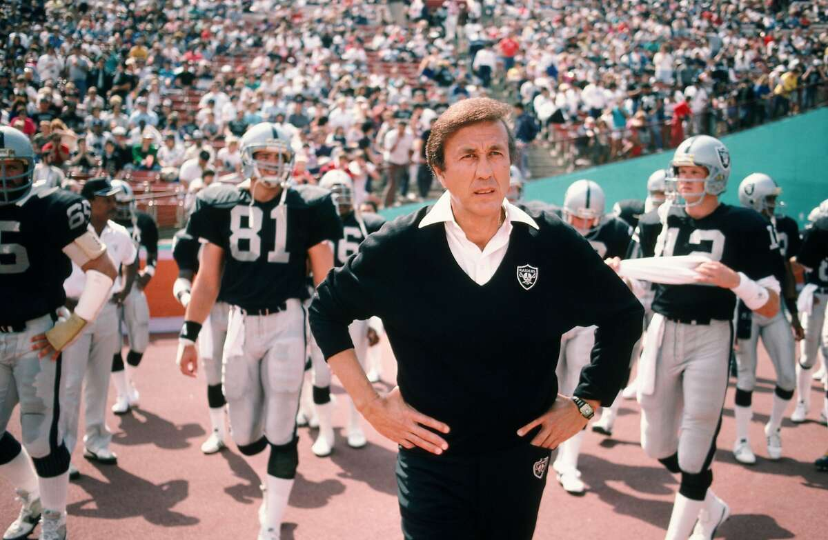 LOS ANGELES, CA - 1987: Los Angeles Raiders Coach Tom Flores enters the field before a 1987 Los Angeles, California, at the Coliseum. (Photo by George Rose/Getty Images)