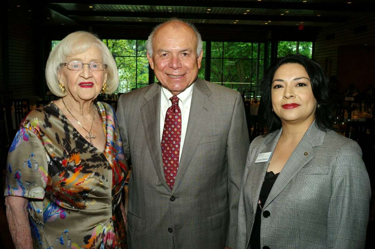 Rosemary Kowalski (from left), Jose E. Martinez and Lorena Salazar at the Free Trade Alliance, Women In International luncheon at the Briscoe Western Art Museum on 5/9/2013. This is #1 of 3 photos. names checked photo by leland a. outz