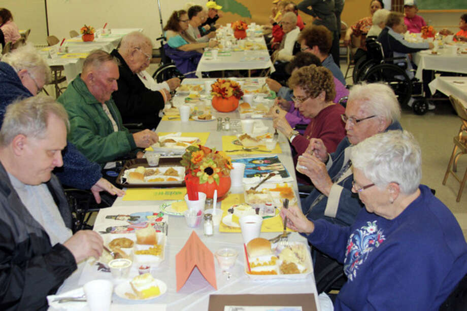 The 27th annual Thanksgiving Blessing Dinner takes place Thursday at St. Hubert Church's Oswald Hall, in Bad Axe. More than 100 people, including residents of Courtney Manor and Huron Medical Care Facility, attended the traditional dinner of turkey, mashed potatoes and homemade pie. The event is sponsored by St. Hubert Church and the Community Cooks, with help from many other volunteers.