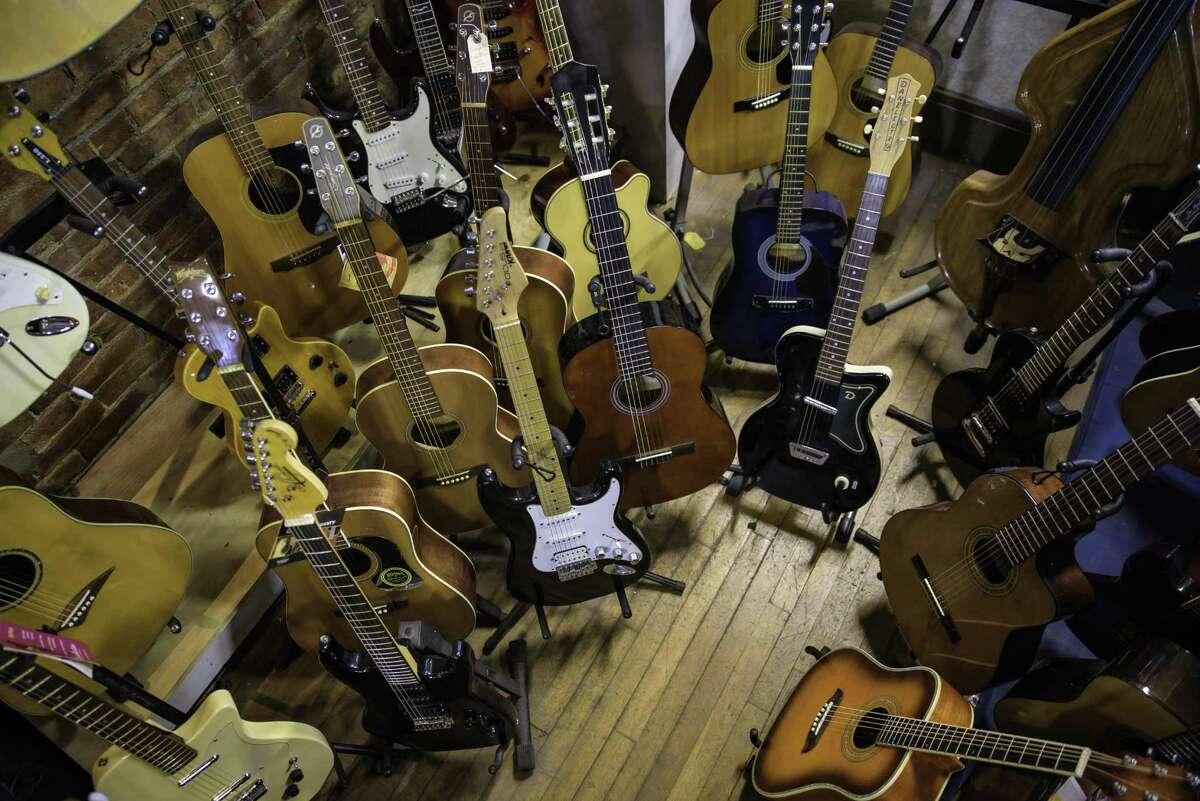 Guitars and more guitars at the Music Guild in Danbury.