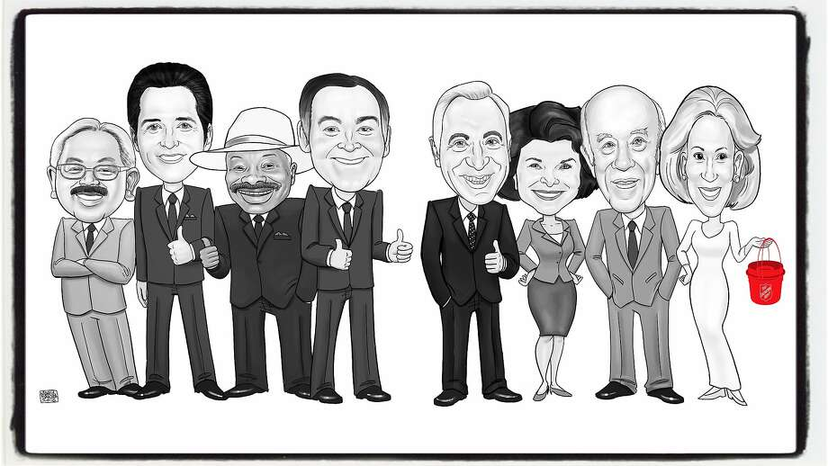 The Salvation Army commissioned a knockout illustration by artist Marcus Sakoda for the Salvation Army lunch honoring Charlotte Shultz. Pictured (from left) Mayors Ed Lee, Gavin Newsom, Willie Brown, Frank Jordan, Art Agnos, Dianne Feinstein, along with George Shultz and wife Protocol Chief Charlotte Shultz. Nov 2017. Photo: Salvation Army