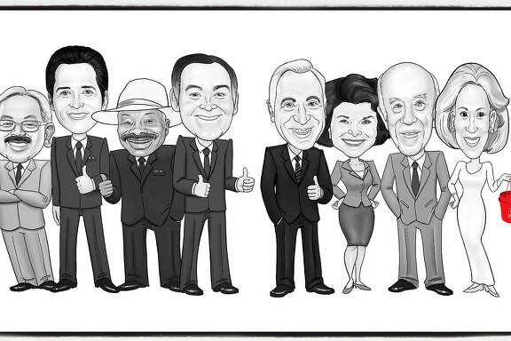 The Salvation Army commissioned a knockout illustration by artist Marcus Sakoda for the Salvation Army lunch honoring Charlotte Shultz . Pictured (from left) Mayors Ed Lee, Gavin Newsom, Willie Brown, Frank Jordan, Art Agnos, Dianne Feinstein, George Shultz and his wife, Protocol Chief Charlotte Shultz. Nov 2017.