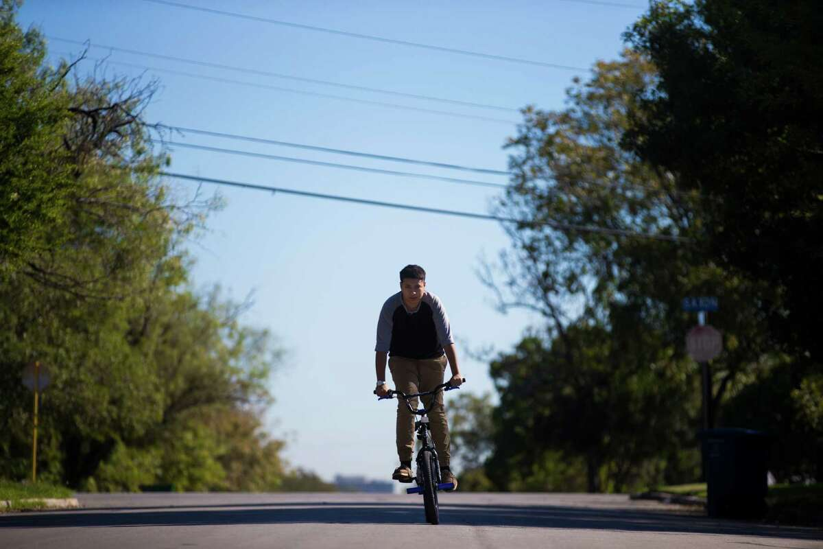 Jacell Rodriguez, 15, wakes up most morning and rides her bicycle near her parents home as a way to cope with her high levels of anxiety.
