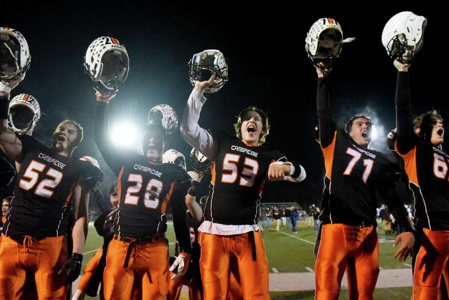 Cambridge celebrates their 61-6 win over Haldane in their Class D state semifinal football game on Friday, Nov 16, 2016, at Dietz Stadium in Kingston, N.Y. (Cindy Schultz / Times Union) Photo: Cindy Schultz / Albany Times Union