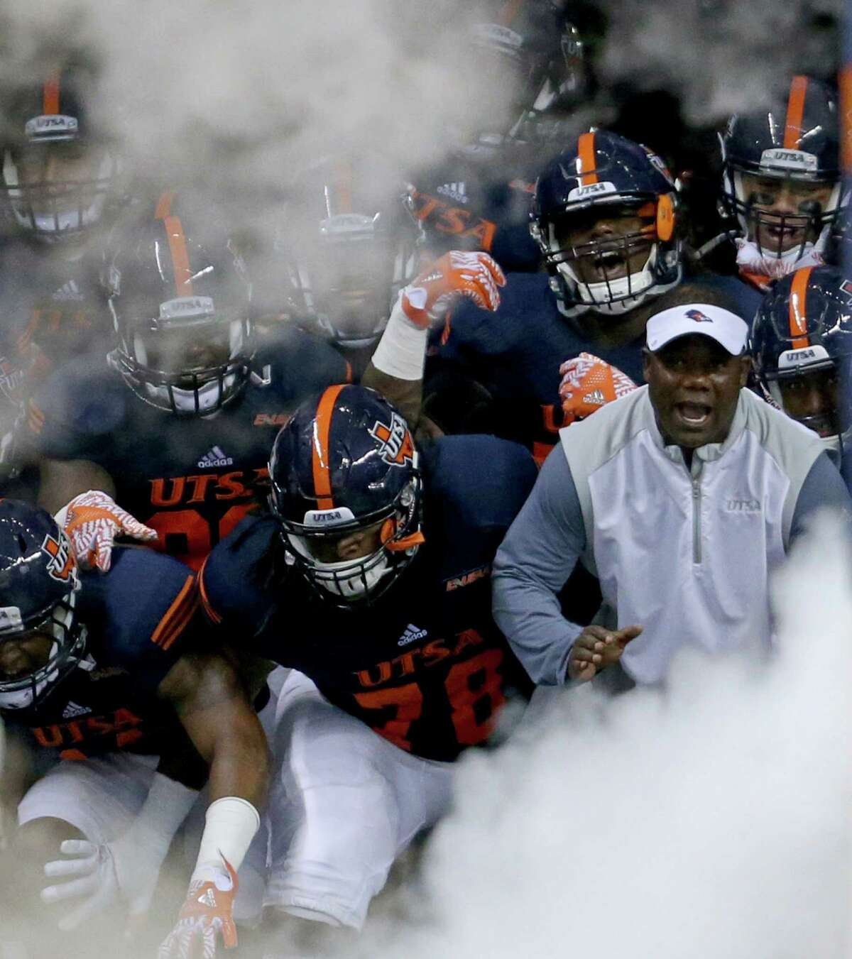 If Texas A&M harbors any hope of playing in a major bowl, the Aggies can't afford to slip up against UTSA. Roadrunners coach Frank Wilson, right, said his team is fired up to play the No. 25 Aggies on national television.