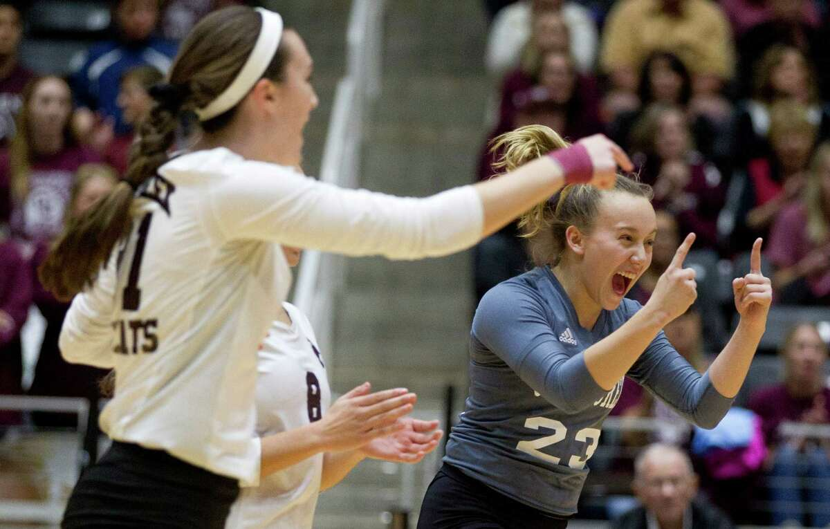 Clear Creek's Maddie Flora (23) celebrates a point in the first set of a Class 6A state semifinal match during the UIL State Volleyball Championships at the Curtis Culwell Center Friday, Nov. 18, 2016, in Garland. Clear Creek swept San Antonio Reagan in to reach the state championship for the first time since 1968.