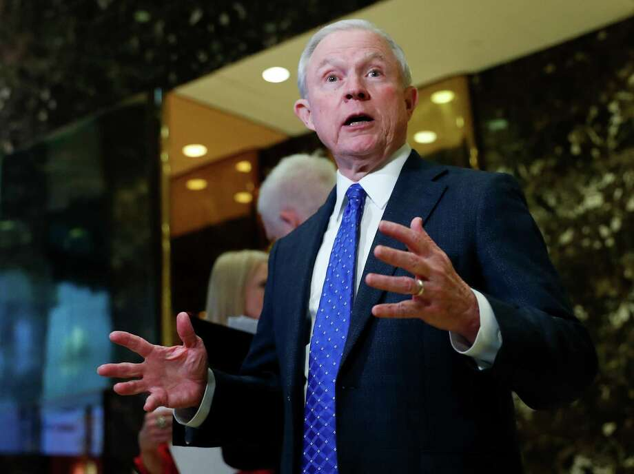 Sen. Jeff Sessions, R-Ala. speaks to media at Trump Tower, Thursday, Nov. 17, 2016, in New York.  President-elect Donald Trump is offering the post of attorney general to Alabama Sen. Jeff Sessions, one of the Trump's closest and most consistent allies.  That's according to a senior Trump official, who was not authorized to speak publicly about the conversation.  (AP Photo/Carolyn Kaster) ORG XMIT: WX101 Photo: Carolyn Kaster / Copyright 2016 The Associated Press. All rights reserved.