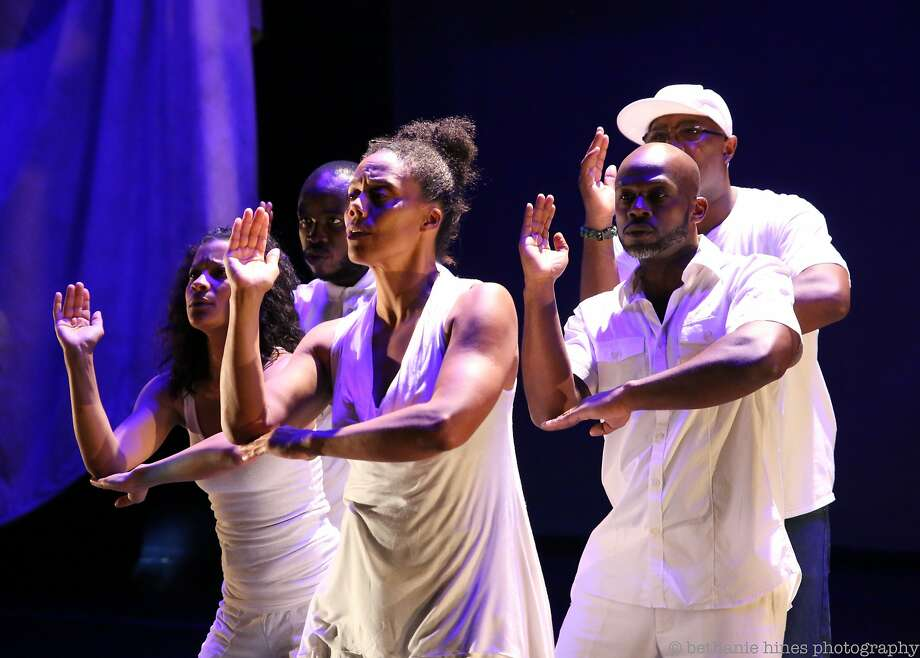 "Traci Tolmaire (left), Yaw Agyeman, Amara Tabor-Smith, Marc Bamuthi Joseph and Tommy Shepherd in ""/peh-LO-tah/"" at Yerba Buena Center for the Arts. Photo: Bethanie Hines, Yerba Buena Center For The Arts"
