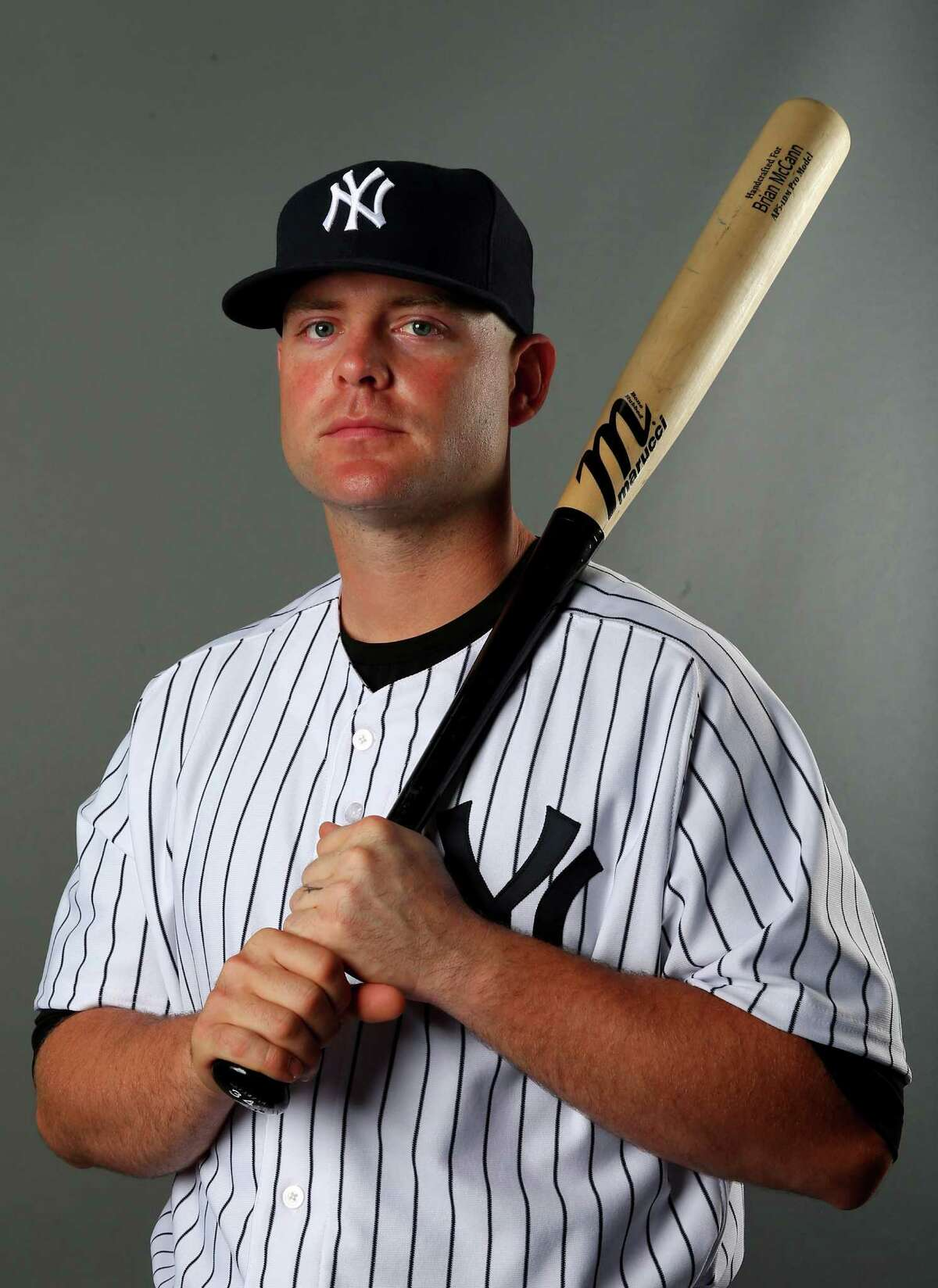 TAMPA, FL - FEBRUARY 22: Brian McCann #34 of the New York Yankees poses for a portrait during New York Yankees Photo Day on February 22, 2014 at George M. Steinbrenner Field in Tampa, Florida. (Photo by Elsa/Getty Images)