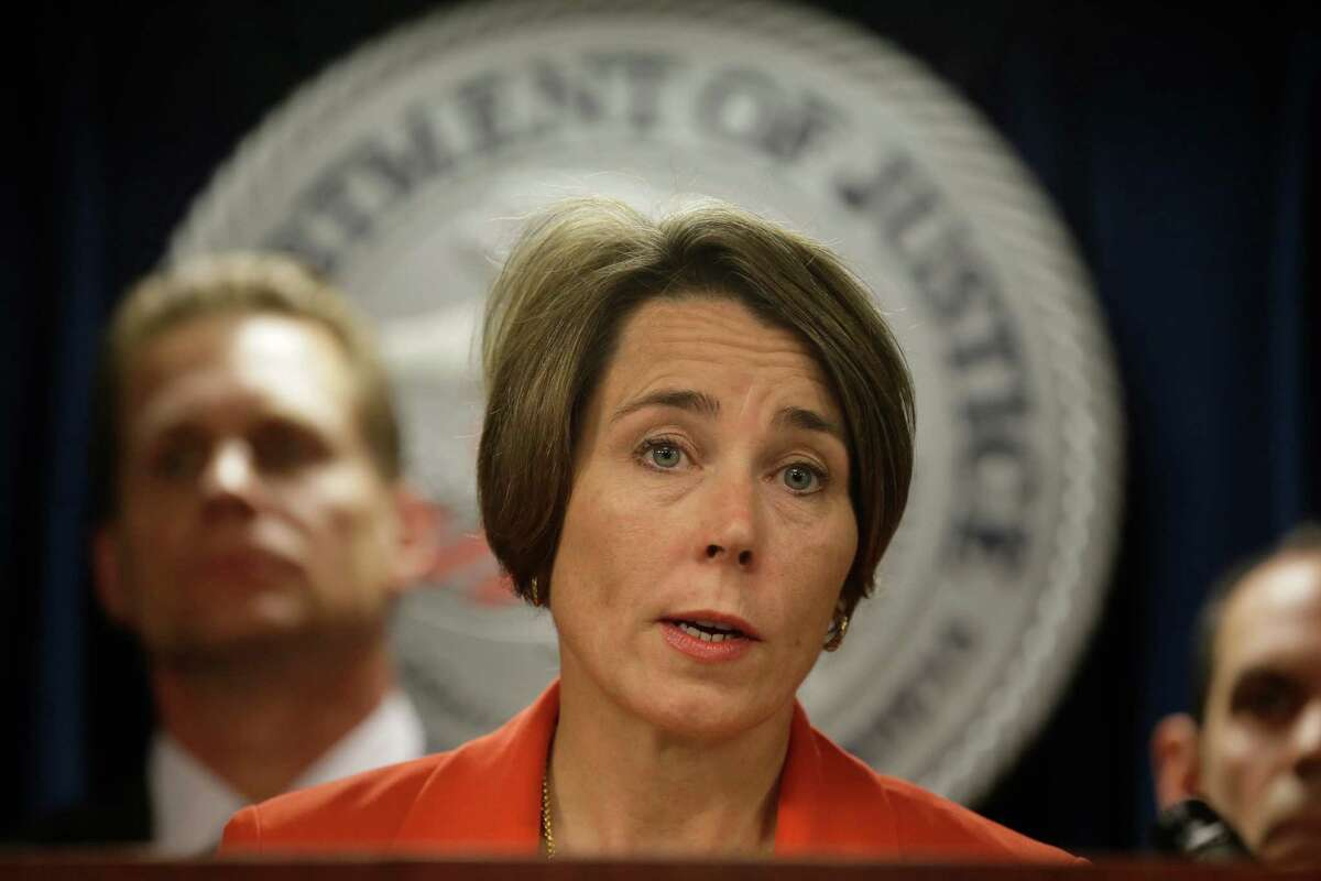 In this photo taken June 9, 2016, Massachusetts Attorney General Maura Healey speaks during a news conference at the federal courthouse in Boston. Escalating a political fight over global warming, House Science Committee Chairman Rep. Lamar Smith, R-Texas, issued subpoenas Wednesday, July 13, 2016, to Healey and New York Attorney General Eric Schneiderman, seeking records about their investigation into whether Exxon Mobil misled investors about global warming. (AP Photo/Steven Senne)