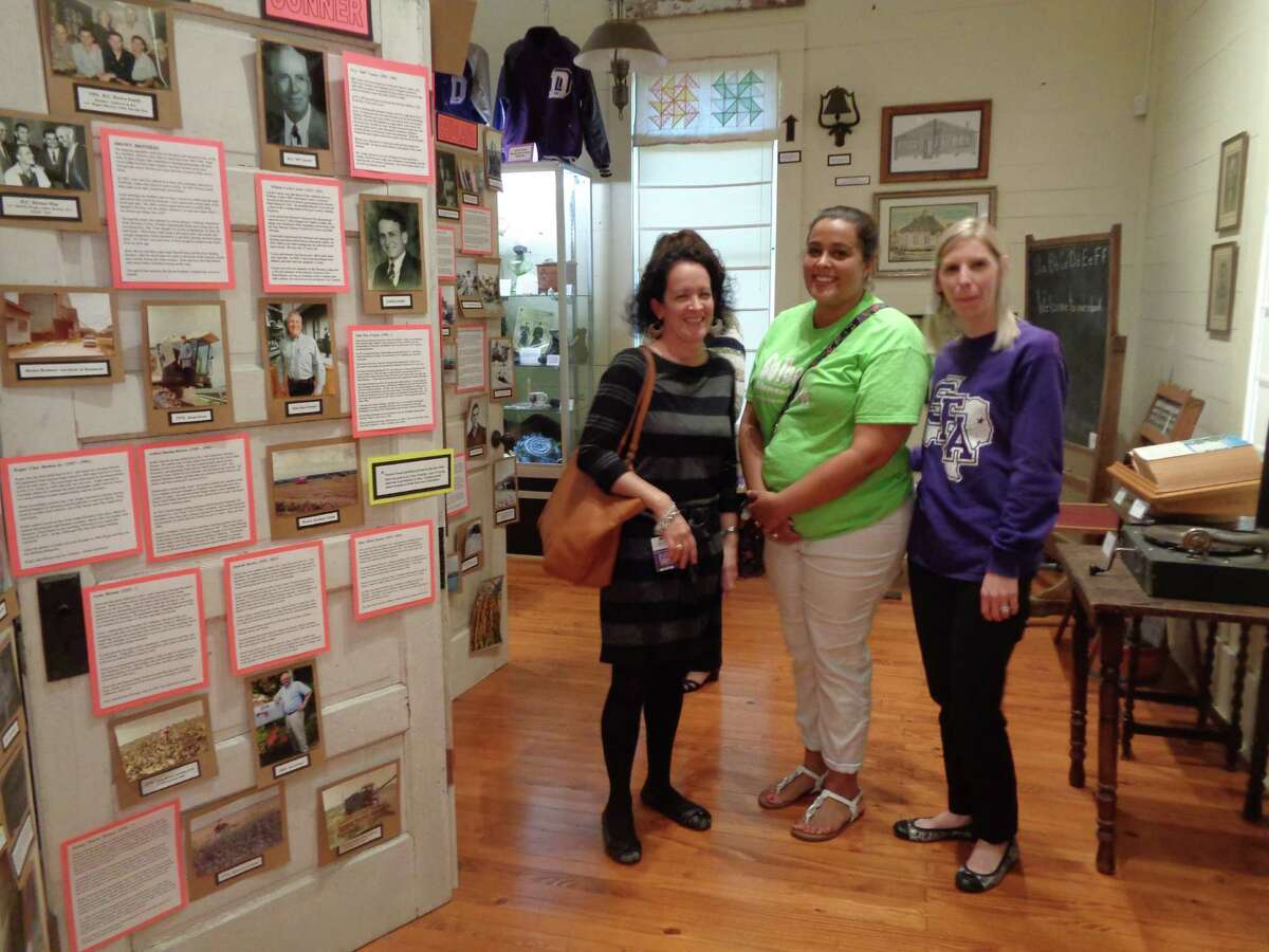 Leanne Strickland, Jennifer Narvaez and Abbie McDonald were among a group from the Dayton ISD Administrators�' Academy who visited the Old School and Colbert/Rosenwald museums on Nov. 16.