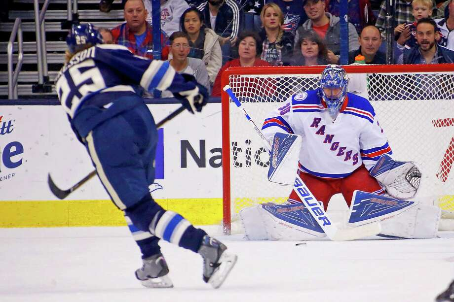 COLUMBUS, OH - NOVEMBER 18:  William Karlsson #25 of the Columbus Blue Jackets beats Henrik Lundqvist #30 of the New York Rangers for a goal during the first period on November 18, 2016 at Nationwide Arena in Columbus, Ohio. (Photo by Kirk Irwin/Getty Images) ORG XMIT: 672869781 Photo: Kirk Irwin / 2016 Getty Images