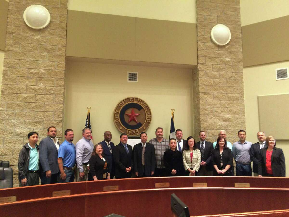 City leaders and representatives of McKinley Development gather for a group photo on Nov. 17.