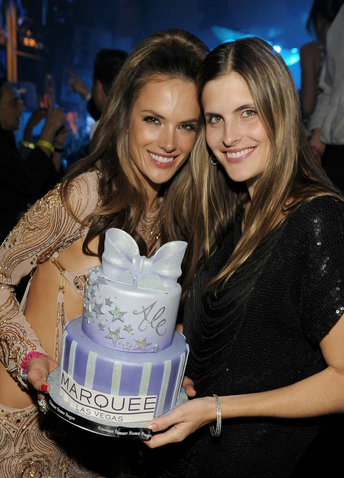 LAS VEGAS, NV - APRIL 09: Alessandra Ambrosio and her sister Aline celebrate Alessandra Ambrosio's birthday at Marquee Nightclub at The Cosmopolitan Of Las Vegas on April 9, 2011 in Las Vegas, Nevada. (Photo by Denise Truscello/WireImage)