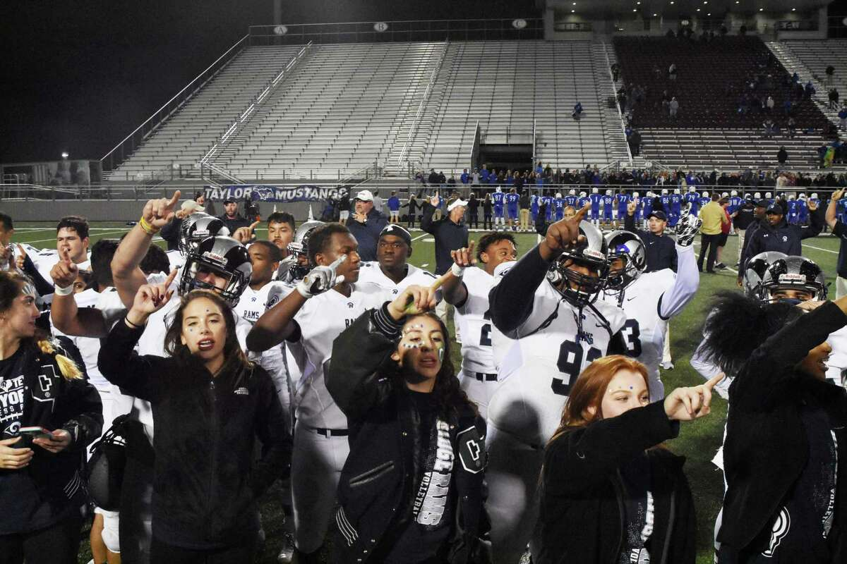 The Cy Ridge Rams celebrate a dominant, wire-to-wire victory over Katy Taylor at Waller ISD Stadium. The Rams have not been to the third round since 2008, when the quarterback was one Russell Shepard.