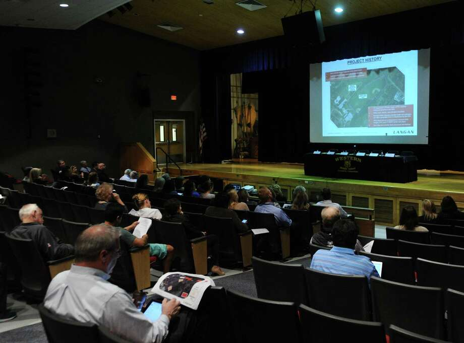 The community forum regarding the state of the fields at Western Middle School in the auditorium of the school located in the Byram section of Greenwich, Conn., Tuesday night, Sept. 27, 2016. The fields have tested positive for toxins and are closed. Photo: Bob Luckey Jr. / Hearst Connecticut Media / Greenwich Time
