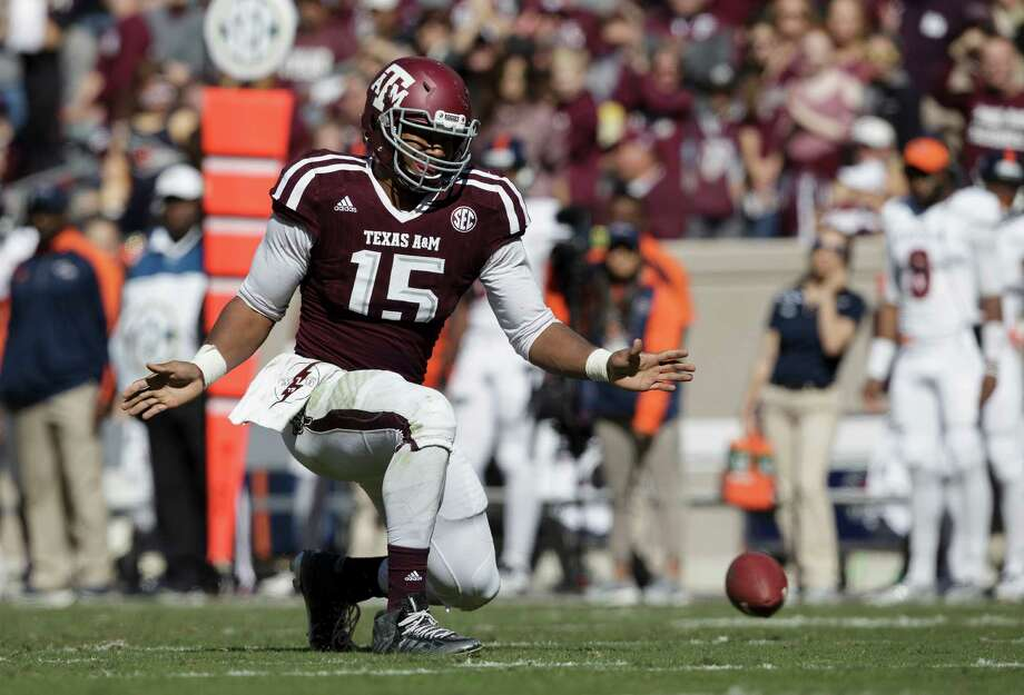 Texas A&M defensive lineman Myles Garrett (15) reacts after knocking down a pass against UTSA during the third quarter of an NCAA college football game Saturday, Nov. 19, 2016, in College Station, Texas. (AP Photo/Sam Craft) Photo: Sam Craft, Associated Press / AP