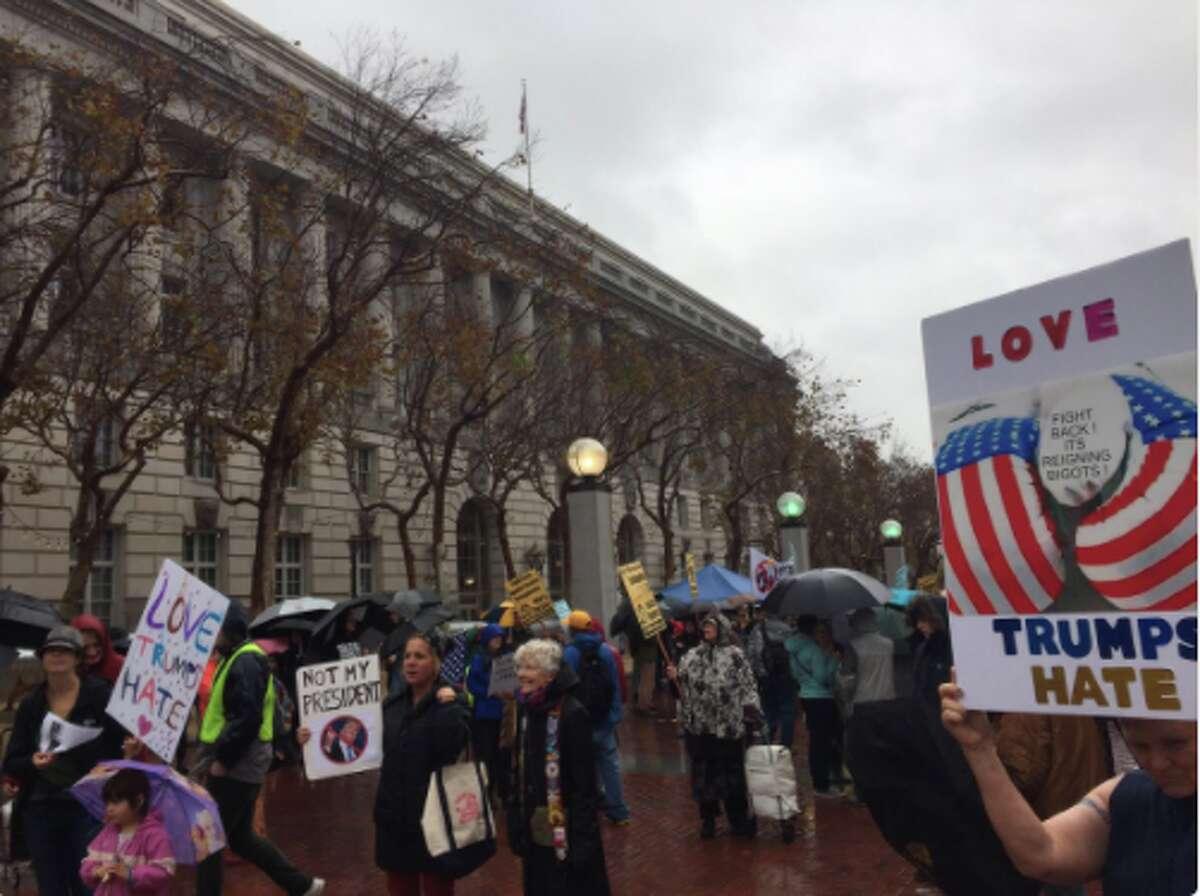 Anti-Trump protest at San Francisco Civic Center, November 19, 2016.