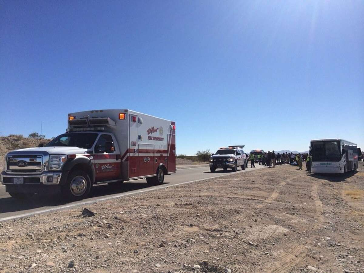 Five people were injured when buses carrying the Texas State University football team wrecked on their way to a game in New Mexico.
