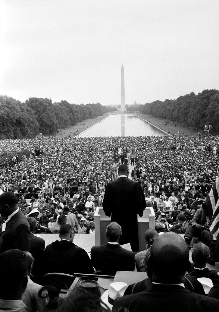 The Rev. Martin Luther King Jr. speaks at the Lincoln Memorial.