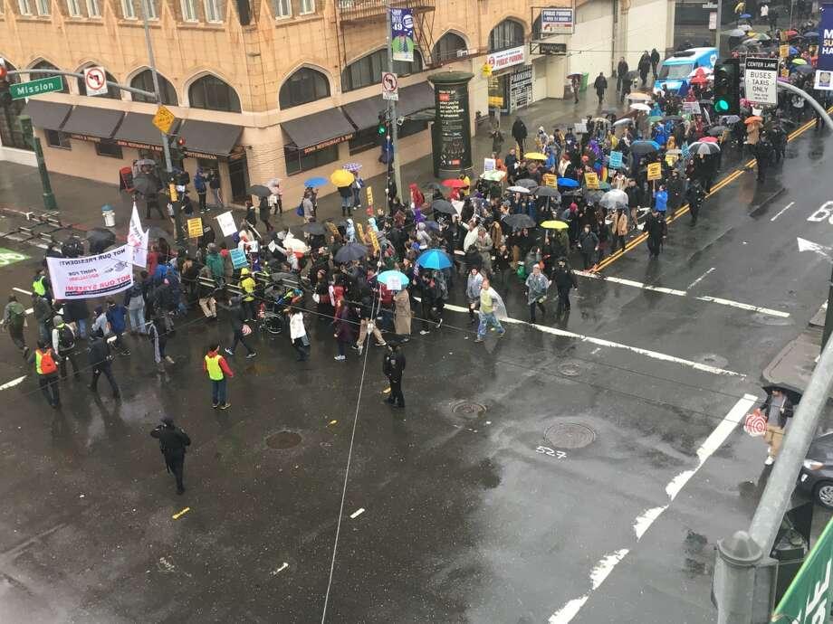An anti-Trump protest makes it's way to Market St. in San Francisco on November 19, 2016. Photo: Susana Guerrero